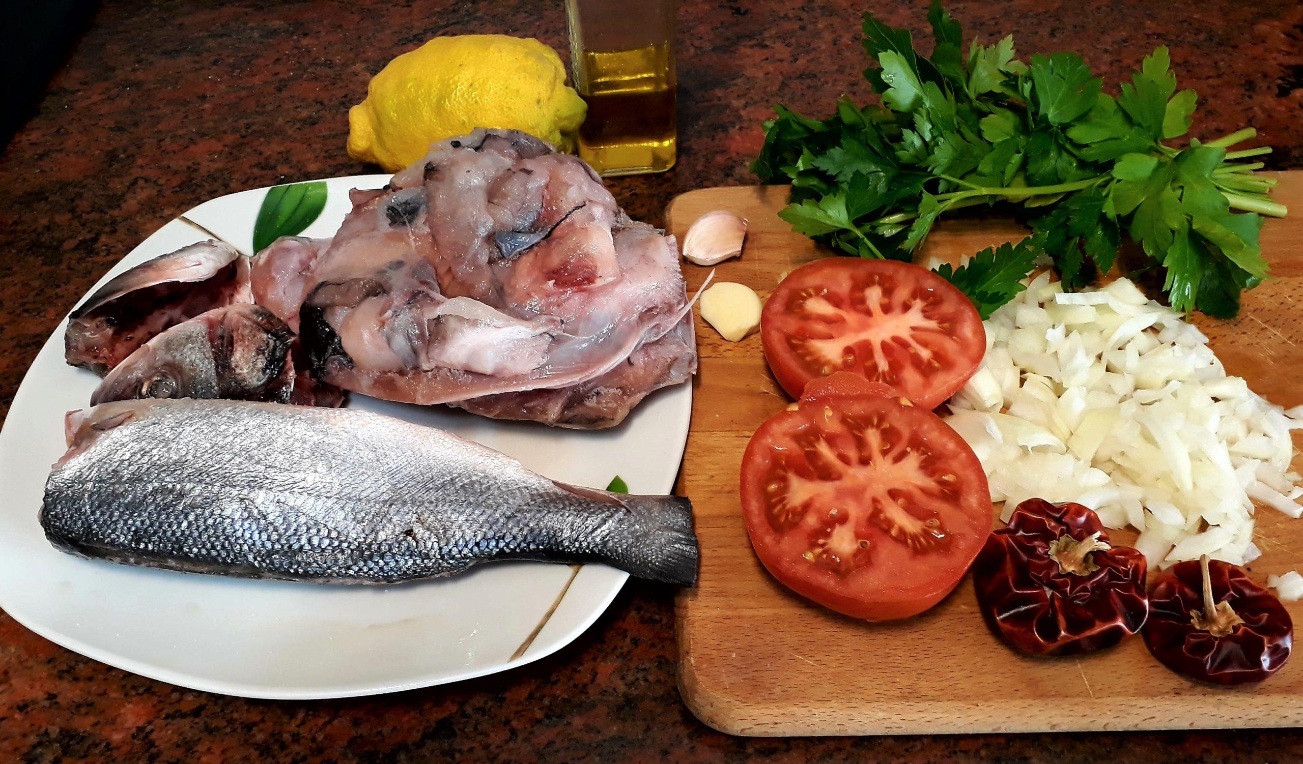 Ingredientes para un caldo de pescado