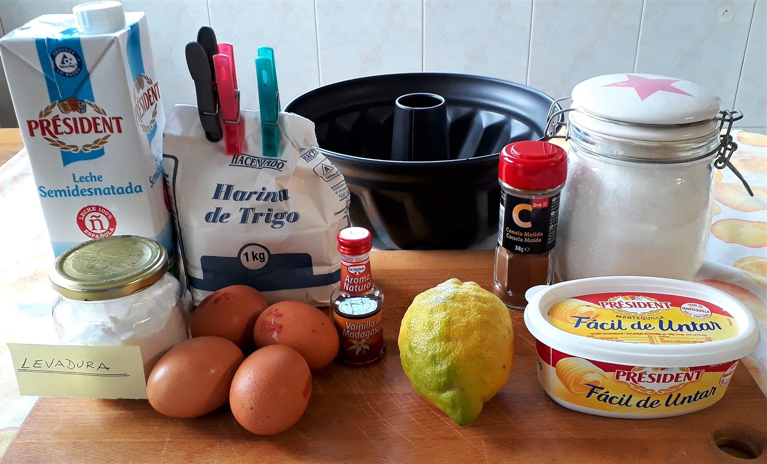 Ingredientes del bizcocho de limón sin yogur