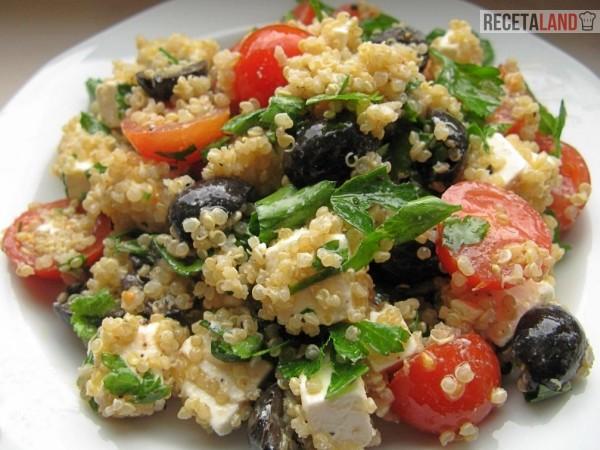 Ensalada de Quinoa, Espinacas y queso feta