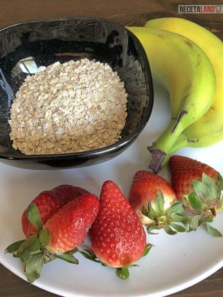 Fresas, avena y plátano