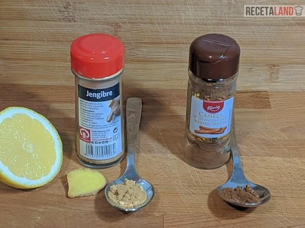 Ingredientes del te de canela y jengibre