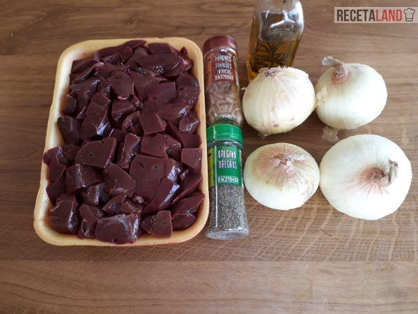 Ingredientes hígado encebollado