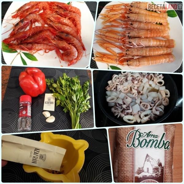 Ingredientes Paella de Marisco