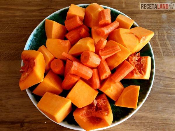 Calabaza y Zanahorias cortadas