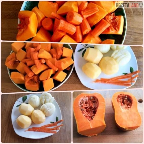 Ingredientes crema de calabaza y zanahorias