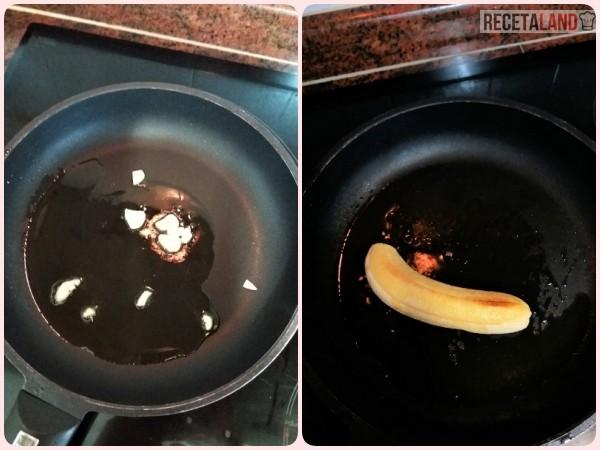 Rehogando los ajos/Friendo el plátano