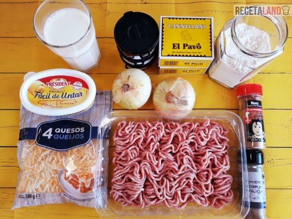 Ingredientes de los Canelones de carne