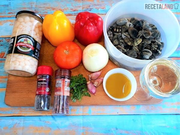 Ingredientes de Pochas con Almejas