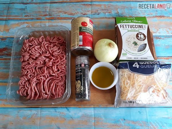 Ingredientes Fetuccini Konjac a la Boloñesa