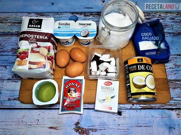 Ingredientes Bizcocho de Coco