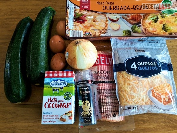 Ingredientes Quiche de calabacín y bacon