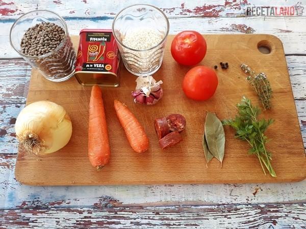 Ingredientes Lentejas con Arroz