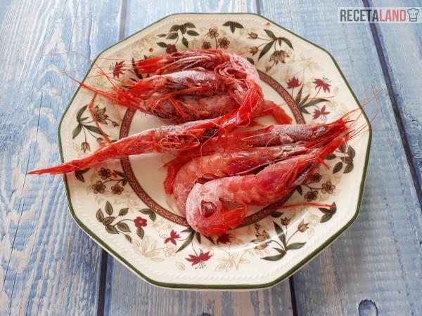Gamba roja congelada para añadir a los espaguetis